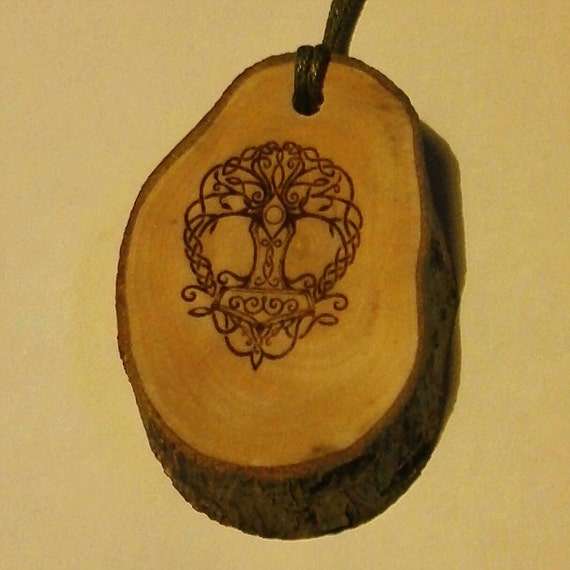 The Tree of Life yggdrasil  wooden JASMINE scented car air freshener fragrance pagan wicca norse