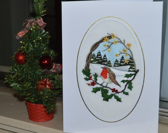 A Large machine embroidered hand finished christmas card - Robin On Branch With Fir Trees.