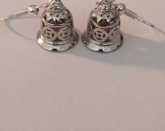 Sweet Little Tibetan Silver Bell Earrings Drop Hook Dangle