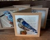 Papier mache bird card set, 4 blank bird cards, paper mache animal, Brown card pack,  bird prints,  Woodland gift cards, nature gift,