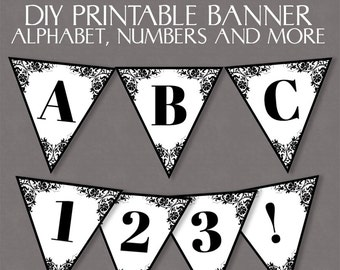 Lace bunting printable, diy banner downloadable alphabet, wedding banner, mr and mrs bunting, black and white lace wedding banner, download