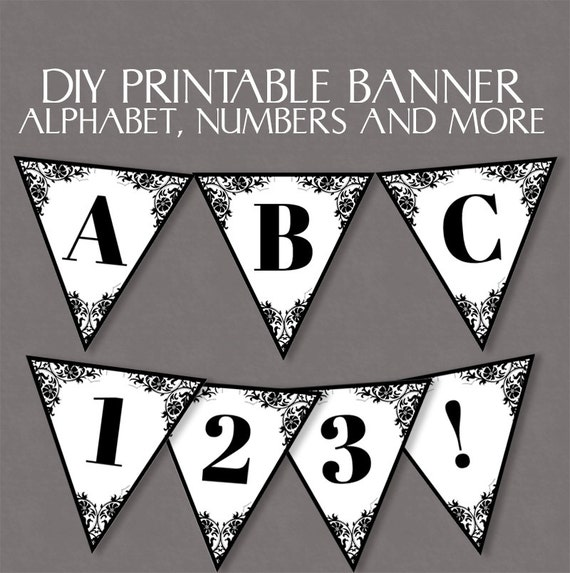 Diy Wedding Word Banners: Lace Bunting Printable Diy Banner Downloadable Alphabet