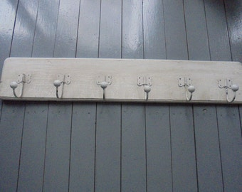 French vintage farmers coat rack/6 hooks coat rack/white wax/French old farm/countryside