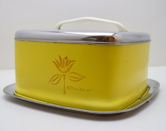 Vintage Yellow Cake Carrier by Lincoln Beauty Ware, Metal Cake Platter with Lid and Handle, Cottage Chic, 1950s