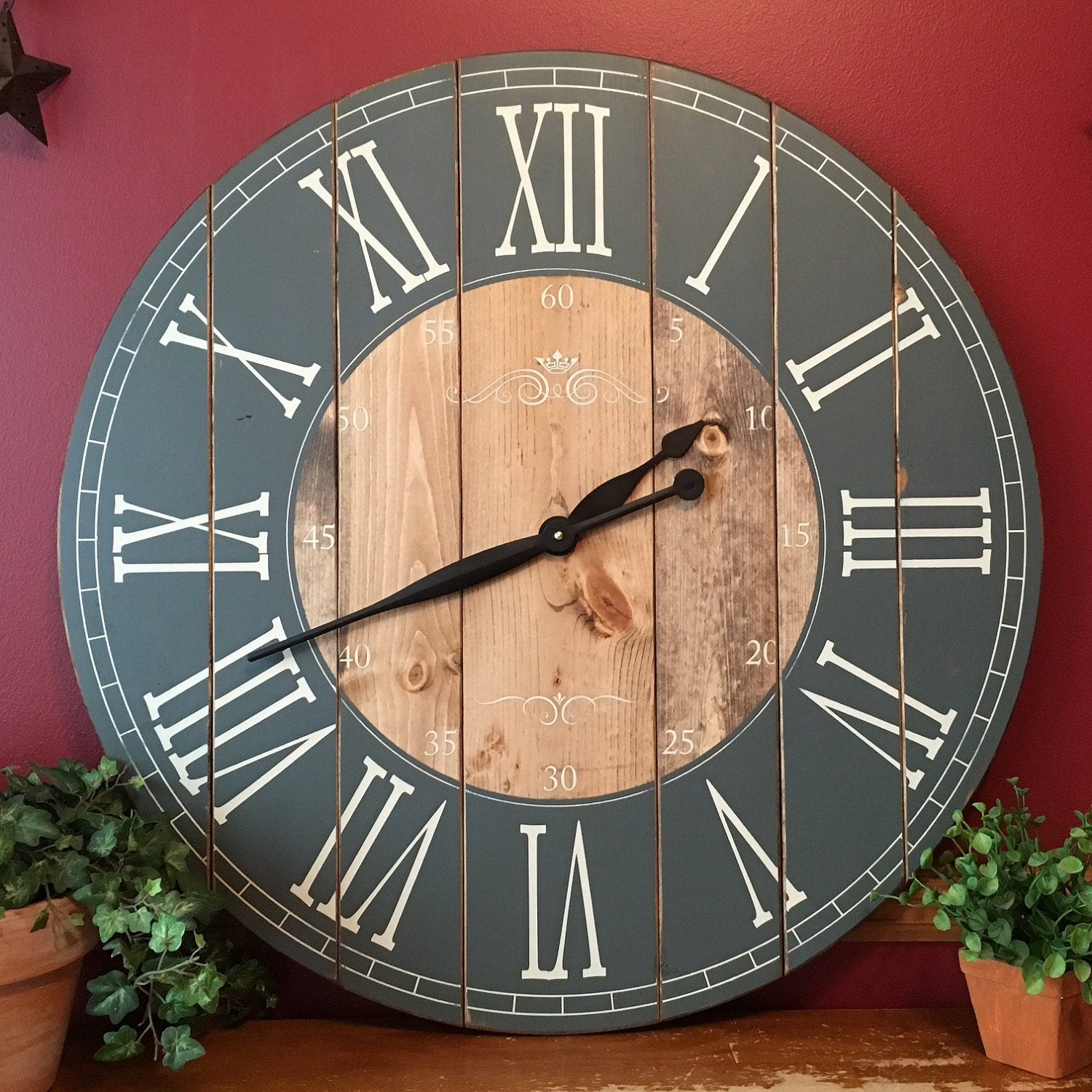 32 inch farmhouse clock rustic wall clock large wall clock zoom amipublicfo Gallery