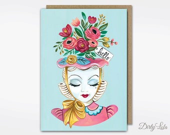 Greeting Card - Pin Up Card - Retro - Hello - Lady Head Vase - Vintage Inspired - Bouquet - Card -Stationery