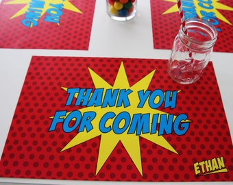 Super Hero party, Set of 12 11 x 17 placemats, super hero placemat, paper placemats, event decor, birthday decor, tableware, placemat