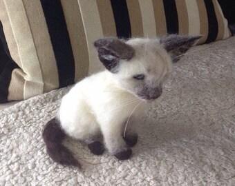 Needle Felted Siamese Kitten. Kitten. Cat. Animal.