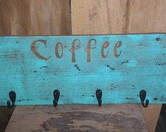 Coffee Cup Hooks on reclaimed barnwood