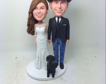 Custom Bobble Head Wedding Cake Topper With Pets Personalized Wedding Cake Topper Clay Figurine Cake Topper Wedding Gift Wedding Decoration