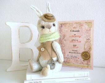 """Artist Teddy Bunny, artist Teddy bear - Hare """"Sammy"""" 17 cm with certificate, Easter, vintage, shabby"""