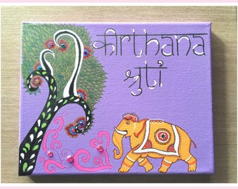 Canvas Name Plate Intricate Patterned Acrylic with any Customized Font and Message