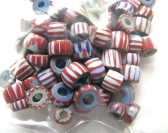 Trade beads, 60 beads, red, blue, vintage beads, 3x5 to 4x5mm,Jewelry supply B-951