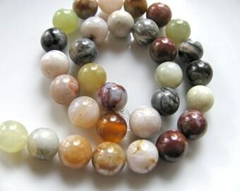 Ocean Jasper, 10 inch strand, 32 beads, 8mm, round beads, multicolor, Jasper beads, Jewelry supply  B 483