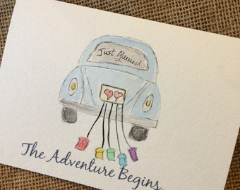 Wedding Card, Fun Wedding Card, LGBT,  Volkswagen Card, Watercolor Card, Greeting Card, Lesbian Wedding Card, Gay Wedding Card, Funny Card