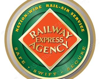 Railway Express Agency Railroad Logo Wood Plaque / Sign