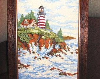 painting embroidered cross LIGHTHOUSE ON the ROCKS