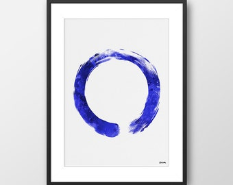 Zen Circle Print, Enso Print, Yoga Print Blue, Buddhism Yoga Decor, Yoga Studio Decor, Buddha Wall Art, Buddha Decor, Yoga Gift (A0102)