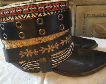 Boho boots, ankle boots, Upcycled REWORKED boots, boho COWBOY BOOTS - custom boho boots - festival boots - gypsy boots