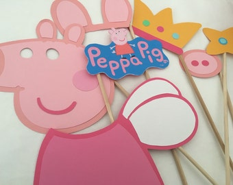 Peppa pig photo booth props 6 piece