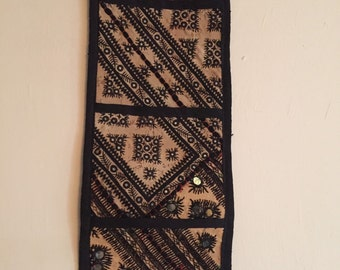 Vintage 3 Pouched Hand Embroidered Black wall Hanging with 1960's Blochi Stitch & Mirror Work patches used