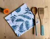 Screen Printed Blue Fern Tea Towel
