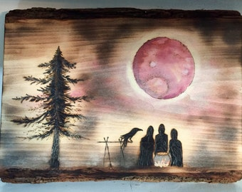 Wall Decor, Wall Art, Macbeth, Blood Moon, Witches, Wooden, Woodburned, Watercolor