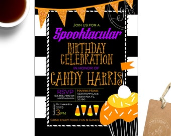 Halloween Birthday invitation - Halloween Party invitation - Costume Party - candy corn - orange yellow purple green Gibb K Studio - TK_A166