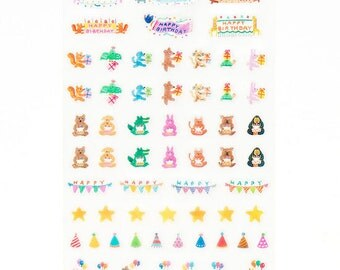 AIUEO Schedule pop seal/ Index.Schedule- Happy Birthday 2 (SPS-12)