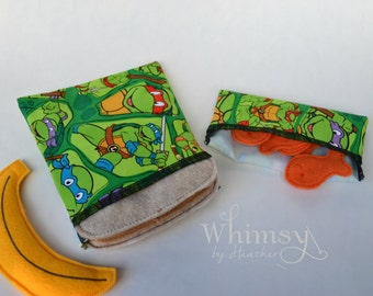 Ninga Turtles ,Ninja Turtles sandwich bags,  Lunch set, reusable sandwich bag, reusable snack bag, ecofriendly lunch set