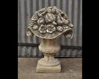 Vintage Concrete French Floral Fruit Bouquet Urn Planter Garden Ornament Statue