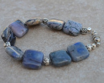 Blue Jasper Beaded Bracelet accented with Antique silver rose beads