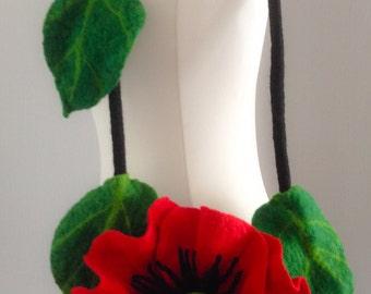 Hand made  bag Felted Flower 100%wool poppy