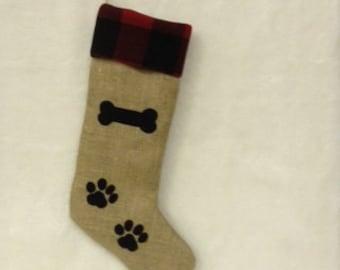 Dog Stocking Bone and Paw Prints