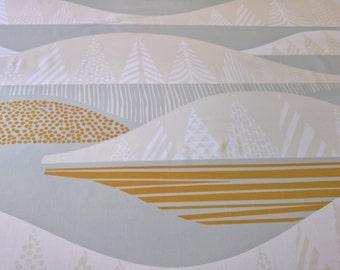 Marimekko KULTAKERO 100% Cotton Sateen Fabric Sanna Annukka Design 2 7/8 yards! Greys Gold White