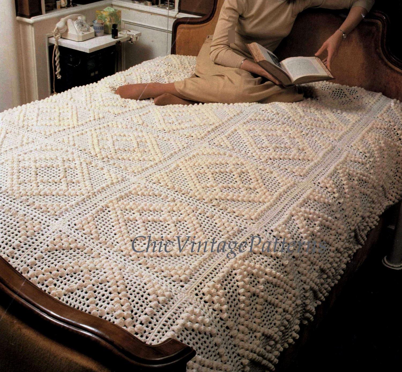 Crochet Bobble Bedspread ... PDF Crochet Pattern ... Heirloom