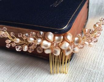 Glass pearl crystal bridal hair comb, Bridal Hair Comb, wedding hair comb, bridal accessories, bridal headpiece, bridal hair piece, bridal