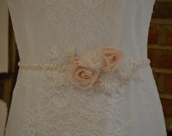Vintage inspired bridal sash with floral motifs