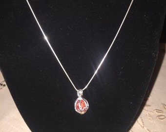 Memorial Round Bead Cage Pendant - Sterling Silver Chain - Funeral Flowers - Memorial Gift - Sympathy Gift - Flower Petal Jewelry