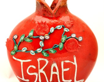 Israel Red Pomegranate Hands Made Art Ceramic