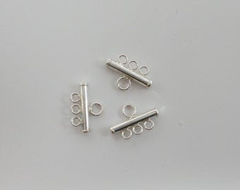 solid 925 sterling single sided 3 strands bar terminator. Strand separator. Price for 2. Wholesale. SS20