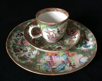 Antique Chinese Rose Medallion Famille Rose Dish, Tea Cup and Saucer Set