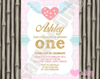 Angel Birthday Invite, First Birthday Invite, 1st Birthday, Turning One, Girl Birthday, Pink, Gold, Polka Dots, Angel Wings  PRINTABLE