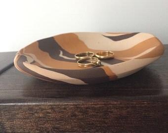 Decorative dish. Ring dish, clay bowl. Rustic bowl. Polymer clay ring dish. Animal print. Safari decor