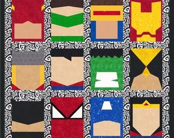 Super Heroes - 12 Quilt Block Patterns - Superman Batman Thor Spiderman Flash Wolverine - Foundation Paper Piece Patch - PDF Download