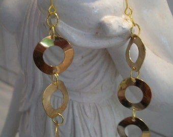 Golden rings, 3 rings-golden earrings dangling earrings