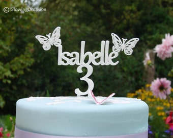 Personalised Name Birthday Cake Topper With Butterflies and Age