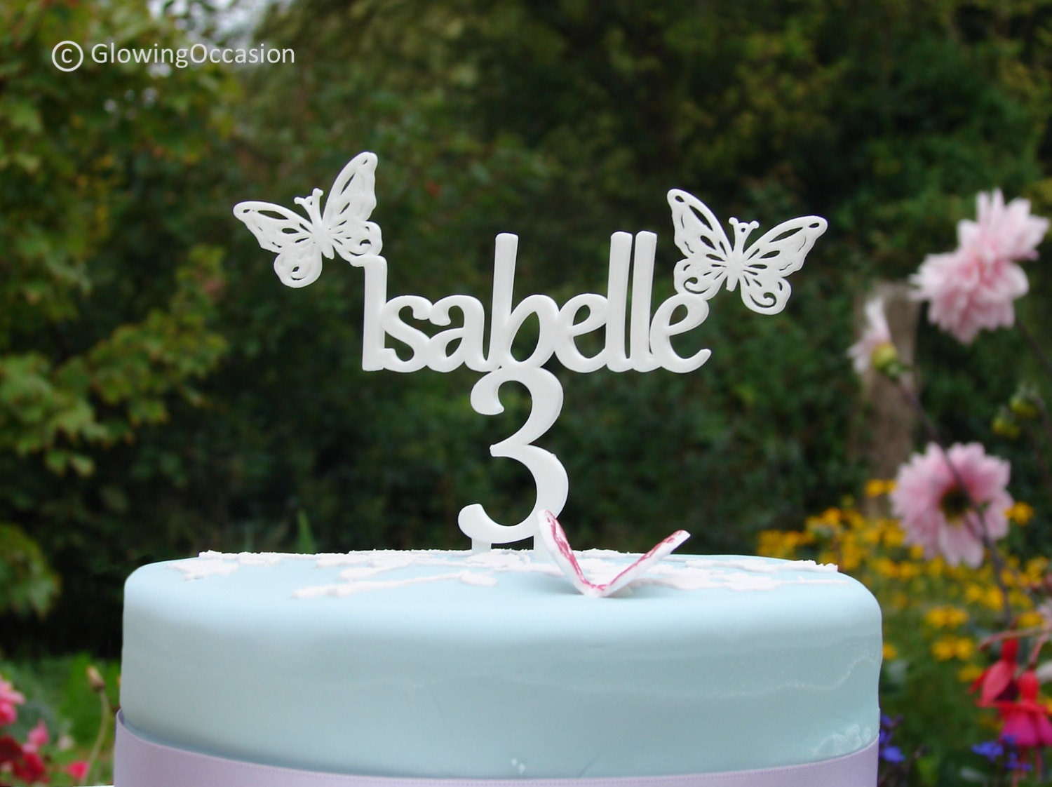 Cake Toppers Uk Birthdays : Personalised Name Birthday Cake Topper With Butterflies and