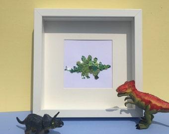 Personalised stegosaurus artwork - nursery art - dinosaur button art