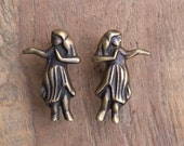 Solid Brass Hawaiian Hula Girl Door Knobs / Drawer Pulls